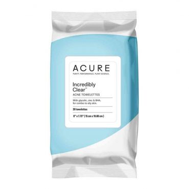 Acure Incredibly Clear Acne Towelettes (30 Per Pack)