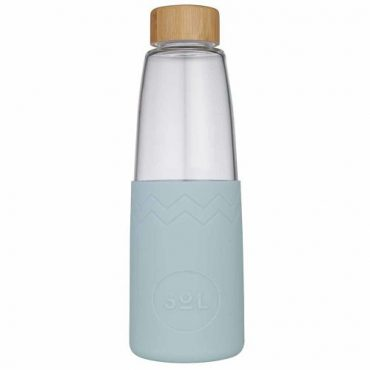 SoL Re-usable glass Bottle Cool Cyan