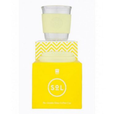 SOL CUPS - Re-usable glass coffee cup - White wave - 236ml