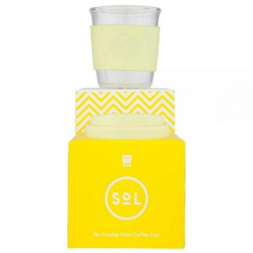 SoL Reusable Glass Cup Yummy Yellow