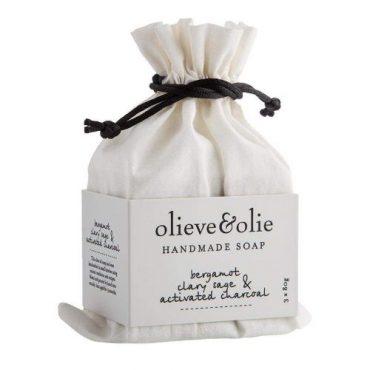 Olieve & Olie Hand Made Soap Bars - Bergamot Clary Sage & Charcoal