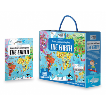 Sassi Travel, Learn and Explore - The Earth Puzzle & Book Set, 205 pieces