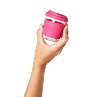 Sol Re-usable Glass Cup Peacock Pink 4oz