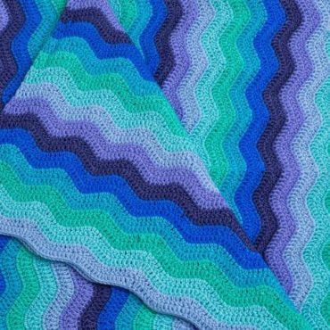 Handmade Crochet Baby Blanket Blue