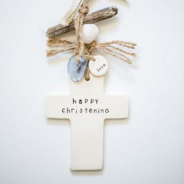 'Happy Christening' cross - blue - small